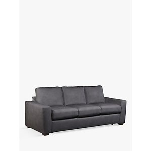 House By John Lewis Oliver Grand 4 Seater Leather Sofa, Dark Leg, Soft Touch Grey