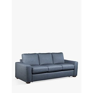 House By John Lewis Oliver Grand 4 Seater Leather Sofa, Dark Leg, Soft Touch Blue