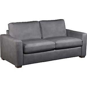 House By John Lewis Oliver Large 3 Seater Leather Sofa, Dark Leg, Soft Touch Grey