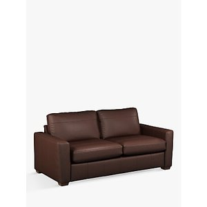 House By John Lewis Oliver Large 3 Seater Leather Sofa, Dark Leg, Winchester Chocolate
