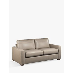 House By John Lewis Oliver Large 3 Seater Leather Sofa, Dark Leg, Winchester Brioche