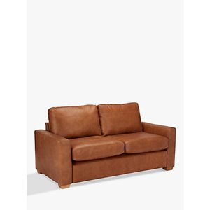 House By John Lewis Oliver Medium 2 Seater Leather Sofa, Dark Leg, Luster Cappuccino