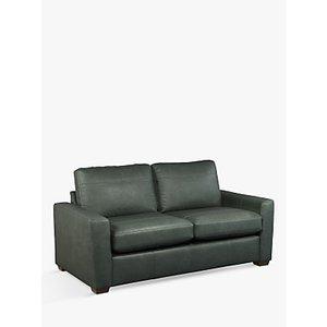 House By John Lewis Oliver Medium 2 Seater Leather Sofa, Dark Leg, Sellvagio Green