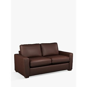 House By John Lewis Oliver Medium 2 Seater Leather Sofa, Dark Leg, Winchester Chocolate
