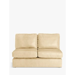 House By John Lewis Oliver Small 2 Seater Armless Leather Sofa, Dark Leg, Nature Cream