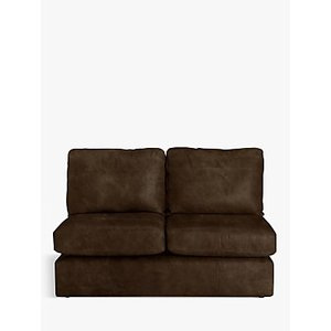 House By John Lewis Oliver Small 2 Seater Armless Leather Sofa, Dark Leg, Old Saddle Coco