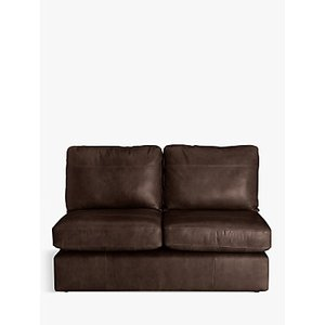 House By John Lewis Oliver Small 2 Seater Armless Leather Sofa, Dark Leg, Contempo Dark Chocolate