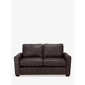 House By John Lewis Oliver Small 2 Seater Leather Sofa, Dark Leg, Demetra Charcoal