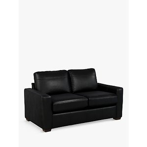 House By John Lewis Oliver Small 2 Seater Leather Sofa, Dark Leg, Piccadilly Black