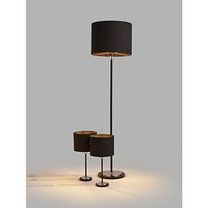 House By John Lewis Starter Floor Lamp And Table Lamp Duo Pack, Black/chrome