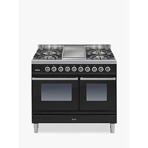 Ilve Pdw100fe3 Roma Dual Fuel Freestanding Range Cooker, Gloss Black
