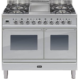 Ilve Pdw100fe3 Roma Dual Fuel Freestanding Range Cooker, Stainless Steel