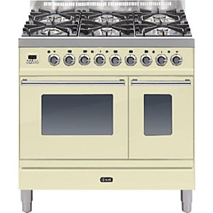 Ilve Pdw906e3 Roma Freestanding Dual Fuel Range Cooker, Cream
