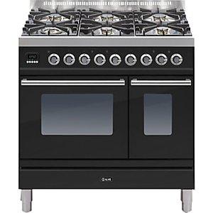 Ilve Pdw906e3 Roma Freestanding Dual Fuel Range Cooker, Gloss Black