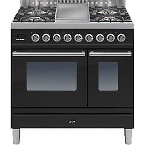 Ilve Pdw90fe3 Roma Dual Fuel Freestanding Range Cooker, Gloss Black