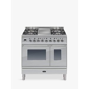 Ilve Pdw90fe3 Roma Dual Fuel Freestanding Range Cooker, Stainless Steel