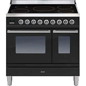 Ilve Pdwi90e3 Roma Induction Freestanding Range Cooker, Gloss Black