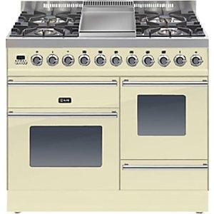 Ilve Ptw100fe3 Roma Dual Fuel Freestanding Range Cooker, Cream