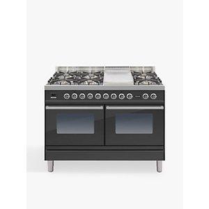 Ilve Roma Pdw120fe3 120cm Dual Fuel Range Cooker, A Energy Rating,, Black Matte