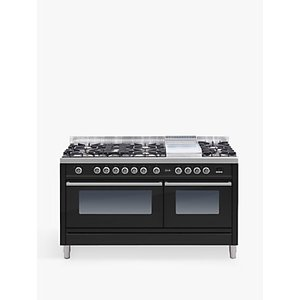 Ilve Roma Pw150fe3 Black 150cm Dual Fuel Range Cooker, A Energy Rating, Black Gloss
