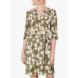 Jaeger Abstract Linen Mini Dress, Khaki