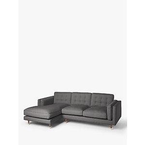 John Lewis & Partners + Swoon Lyon Lhf Chaise End Sofa, Charcoal Grey Cotton