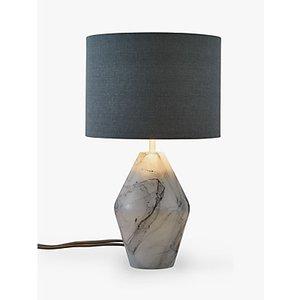 John Lewis & Partners Ada Dual Lit Glass Table Lamp, White/grey