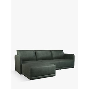 John Lewis & Partners Bundle Leather Chaise End Sofa, Sellvagio Green