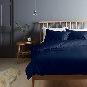 John Lewis & Partners Crisp And Fresh 200 Thread Count Egyptian Cotton Bedding Navy Single Duvet Cover House Accessories