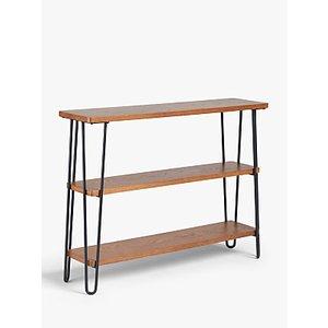 John Lewis & Partners Hairpin Low Bookcase, Dark Oak