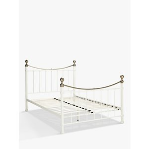 John Lewis & Partners Jayne Brass Metal Bed Frame, Double, White