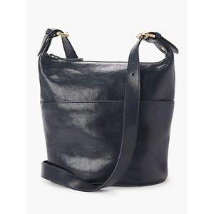 John Lewis & Partners Kepley Leather Cross Body Bag, Navy Womens Accessories