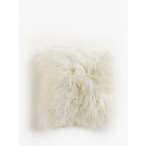 John Lewis & Partners Mongolian Sheepskin Cushion, White