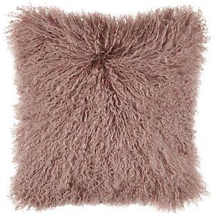 John Lewis & Partners Mongolian Sheepskin Cushion, Pink