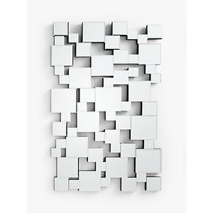 John Lewis & Partners Multi Squares Wall Mirror, 93 X 76cm, Clear  238595685 House Accessories