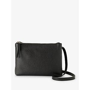 John Lewis & Partners Parker Leather Double Zip Cross Body Bag Womens Accessories, Black
