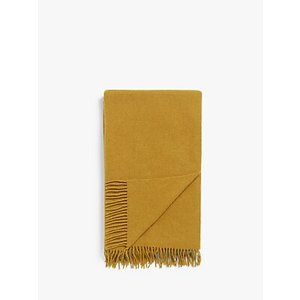 John Lewis & Partners Plain Wool Throw Mustard House Accessories, Mustard