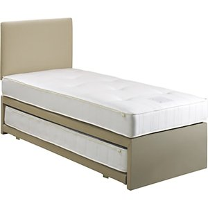 John Lewis & Partners Savoy Two Open Spring Trundle Guest Bed, Canvas Pebble, Small Single