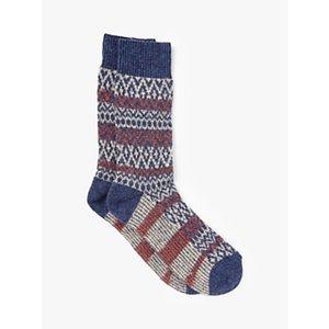 John Lewis & Partners Wool Silk Blend Fair Isle Boot Socks, Blue/multi
