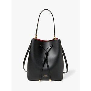 Lauren Ralph Lauren Dryden Debby Leather Medium Bucket Bag Womens Accessories, Black/Red