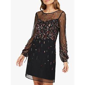 Monsoon Stephanie Embellished Mini Dress, Black