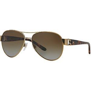 Ralph Lauren Rl7047q Polarised Aviator Sunglasses, Gold Womens Accessories