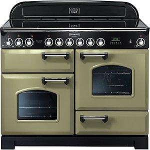Rangemaster Classic Deluxe 110 Electric Range Cooker, Olive Green