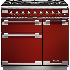 Rangemaster Elise 90 Dual Fuel Range Cooker, Cherry Red/Chrome Trim