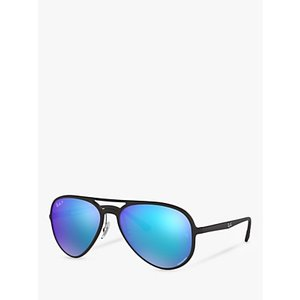 Ray-ban Rb4320ch Women's Polarised Aviator Sunglasses Womens Accessories, Matte Black/Mirror Blue