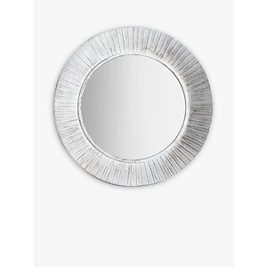 Round Distressed Metal Wall Mirror, 81cm, White  House Accessories