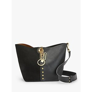 See By Chloé Gaia Large Suede Leather Chain Bucket Bag Womens Accessories, Black