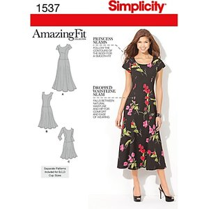 Simplicity Amazing Fit Women's Dress Sewing Pattern, 1537