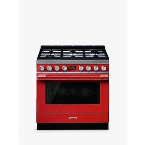 Smeg Portofino Cpf9g Dual Fuel Range Cooker, A+ Energy Rating, Red