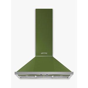 Smeg Portofino Kpf9 90cm Chimney Cooker Hood, Olive Green